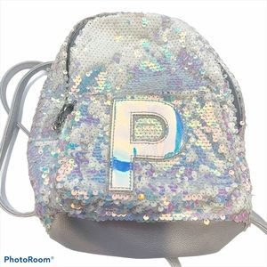 Justice l Letter P Silver Sequin Unicorn Backpack